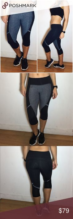 Lululemon Black and Gray Crops Lululemon Black and Gray Cropped Pants. -Size 4. -Luxtreme (shiny/smooth material)  -Mid-calf length. -Like new, no flaws.  NO Trades. Please make all offers through offer button. lululemon athletica Pants