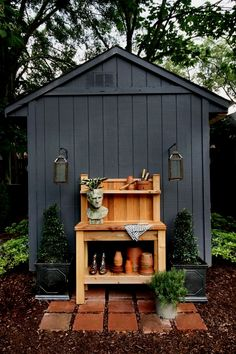 Currently Craving: Black Garden Shed - hudson & grey shed design shed diy You are in the right place about wooden Garden Shed Here we offer you the most beautif Painted Garden Sheds, Garden Shed Diy, Backyard Sheds, Diy Shed, Outdoor Sheds, Cedar Garden, Garden Shed Interiors, Garden Shed Exterior Ideas, Shed Siding Ideas
