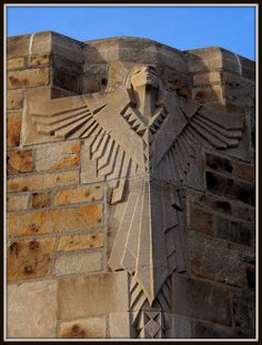 The National Shrine of the Little Flower was the parish founded by the controversial 1930s radio priest, Father Charles Coughlin. This is an art deco angel at the roofline of the church.