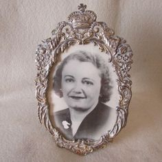 Vintage Cottage Chic Silverplate Picture Frame with Crown & Floral Cornucopia