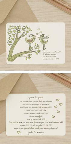 kissing bird wedding invites