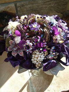 handmade Purple wedding brooch beaded-flower bouquet
