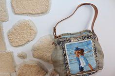 uncinetto moda e fantasia:  borsa in plastica ricoperta con tessuto di seta e...