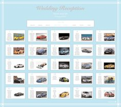 A sports car themed wedding table plan in aqua blue to match the couples wedding colour