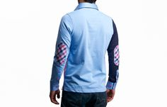 Pink Polo Shirt Checkered Lining Bicolored Long-sleeves Elbow Pads, - Dress Shirts for Men - French-Shirts.com
