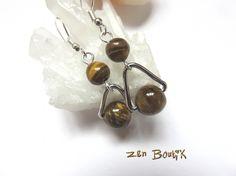 Boucles d'oreilles Oeil de Tigre, Zen Chic, Lithothérapie, Bijoux Zen Boutik : Boucles d'oreille par zenboutik
