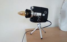 UNIQUE LAMP CREATED BY UP-CYCLING A VINTAGE/RETRO CINE CAMERA, PAT SAFETY TESTED | eBay