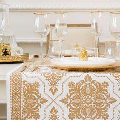 Caminho de mesa estampado dourado