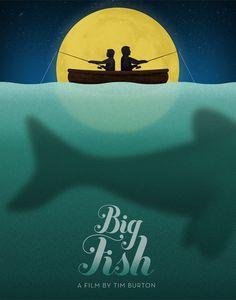 Big Fish poster by Jon Ashcroft Big Fish Movie, Love Movie, All Movies, Great Movies, Tim Burton Johnny Depp, Tim Burton Films, Foto Poster, Best Movie Posters, Alternative Movie Posters