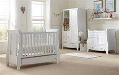 The Tutti Bambini Katie 3 Piece Room Set has been created with beautiful curves but in keeping with a modern design. The set includesa Cot Bed, Wardrobe and Chest Changer.