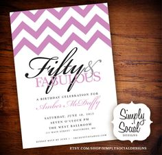 50th Birthday Party Invitation with Chevron.