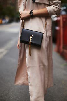 RetroFlame - matching the perfect black details to a simple trenchcoat - airarle. Ysl Tassel Bag, Ysl Crossbody Bag, Tote Bag, Small Crossbody Bag, Luxury Purses, Luxury Bags, Luxury Handbags, Ysl Handbags, Designer Purses And Handbags