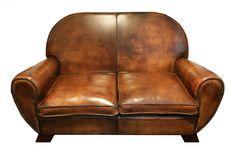 Ledersofa - Leder - Art Deco - Antiquitäten - Antik - Möbel