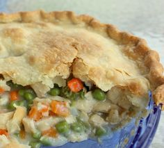 Delicious chicken pot pie!  To save calories, only use 1 crust as a topping or use phyllo sheet.