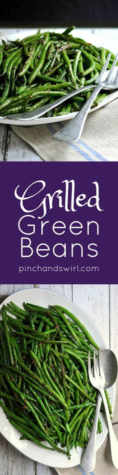 Grilled green beans are tender and smoky with crisp edges. If you've wondered how to grill green beans, this is it! Just toss the green beans in a simple mixture of oil, herbs and spices then transfer to a grill plan or even directly on the grill. Side Dishes Easy, Vegetable Side Dishes, Side Dish Recipes, Vegetable Recipes, Grilled Green Beans, Grilled Vegetables, Real Food Recipes, Cooking Recipes, Healthy Recipes