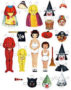 paper doll Halloween set costumes clip art digital download collage sheet,, via Etsy.