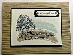 Nature Theme Series using  Moon Lake Stamp Set (Stampin' Up!) and Woodgrain Texture Embossing folder