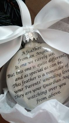 In Memory of Parents Memorial Christmas Ornament - Feather from an Angel - Mom & Dad in Heaven - Loss of Parents Sympathy GIft -…