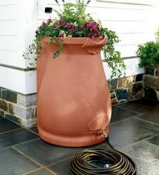 Nitty Gritty Dirt Man / Rain barrel urn -- decorative, practical, and good for conserving water.