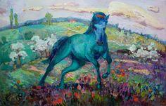 """Saatchi Art Artist: Anastasiia Grygorieva; Oil 2013 Painting """"Green horse"""""""