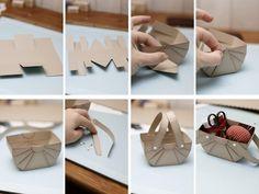 Como fazer caixinha em formato de cesta de piquenique de papel de scrapbook para material de costura ou guloseimas.   Esta cestinha de ...