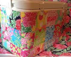 Lilly Pulitzer Patch Work, Fabric Covered Large 28 quart Marine Cooler with Monogram and State Patch. $80.00, via Etsy.