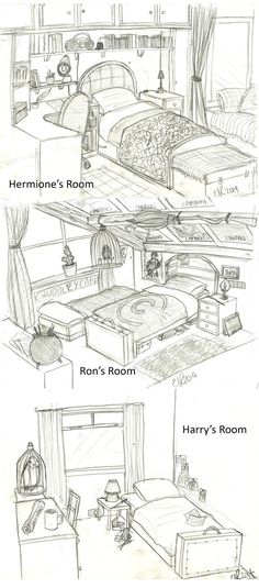 Harry Potter: Bedrooms by Catching-Smoke on deviantART✨⚡•