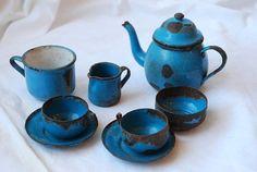 Antique Victorian Miniature Tin Metal and Porcelain Enamel Doll Dishes Tea Set Late 1800s