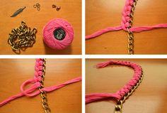 DIY: Collar de hilo trenzado y cadena de eslabones
