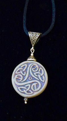 Ceramic Celtic pendant large Celtic pendant handmade Irish
