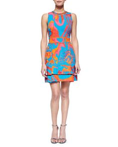 Abstract Floral Brocade Mesh-Inset Dress by Roberto Cavalli at Bergdorf Goodman.