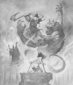 Artist Alex Horley does a take on Frazetta's Death Dealer - Pencil