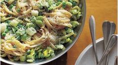 Save time (and another pot) by cooking the frozen lima beans and peas in the boiling water along with the pasta. Lima Bean Recipes, Leek Recipes, Dinner Options, Pesto, Beans, Vegetarian, Stuffed Peppers, Vegetables