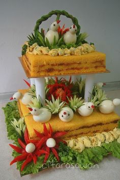 Last Birthday - Yellow Sauce - Food Carving Ideas Vegetable Decoration, Food Decoration, Cute Food, Yummy Food, Food Art For Kids, Food Garnishes, Garnishing, Food Carving, Vegetable Carving