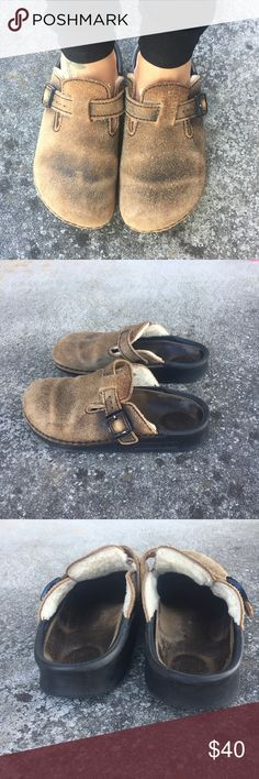 Birkenstock fur slip ons EUC love the color!! It's a distressed Brown and tan.. these are so comfortable and nice .. says L8 but runs bigger Birkenstock Shoes Mules & Clogs