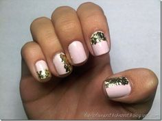 Glitter addition to a basic manicure. Glitter Manicure, Gold Nails, Pink Nails, Gold Glitter, Red Nail, Gold Sparkle, Glitter Uggs, Nail Bling, Sparkly Nails