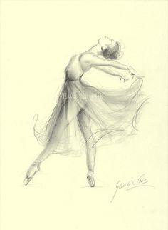 BALLERINE. Art Print de dessin par Ewa Gawlik au crayon graphite original. Papier crème.