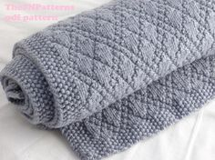 Baby Blanket Knitting Pattern PDF Knitting Pattern Grey Baby