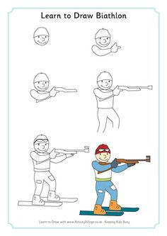 Biathlon combines crosscountry skiing and rifle shooting and is a Winter Olympic sport. On this sheet you can learn to draw a man ready for the rifle shooting. Drawing For Beginners, Drawing For Kids, Art For Kids, Cartoon Drawing Tutorial, Cartoon Girl Drawing, Cartoon Drawings, Drawing Skills, Drawing Lessons, 6th Grade Art