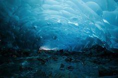 Blue-hued ice cave--80 feet under #MendenhallGlacier  #Alaska