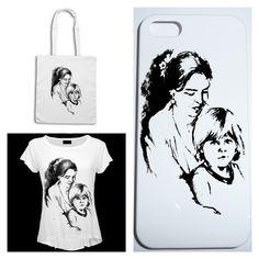 Mother's day gift collection bag, t-shirt and phone box with your handmade portrait ----- Collezione regali per festa della Mamma borsa, maglietta e cover con il vostro ritratto dipinto a mano #moda #collezione #ritratto #fashion #Collection #trend #bag #shirt #borsa #maglia