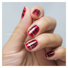Nail Art Tutorial Holiday Tartan by Petite Peinture found on Polyvore featuring beauty products, nail care, nail treatments and nail
