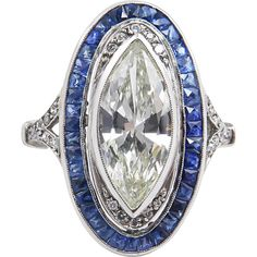 Art Deco 4.39ct Marquise Diamond Sapphire Engagement Platinum Ring EGL from diamondviolet on Ruby Lane