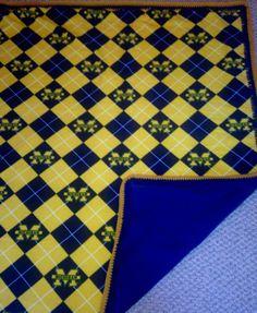 "University of Michigan Fleece Blanket w/Crochet Edge - No Sew Blanket- 68"" x 58"" - Maize & Blue Blanket - Single or Double Sided Fleece by JenJenandGMaShop on Etsy"