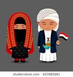 Man and woman in traditional costume. Travel to Yemen. People with flag. Vector flat illustration.