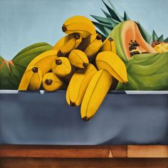 Banana art by Ana Mercedes Hoyos Fruit Painting, Painting Collage, Painting Styles, Watercolour Painting, South American Art, African American Art, Food Collage, Adult Art Classes, Colombian Art