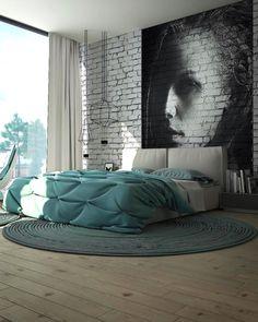 Мебель и предметы интерьера в цветах: черный, серый, светло-серый, сине-зеленый. Мебель и предметы интерьера в стиле лофт.