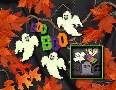 Create a fun Halloween display with ghosts and tombstones you make from Perler glow-in-the-dark beads! You can hang your flying ghosts with thread or fishing line from a branch or wreath.