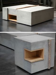 ZATARA cabinet Concrete Table, Concrete Furniture, Concrete Wood, Concrete Projects, Concrete Design, Deco Furniture, Furniture Design, Lamp Design, Chair Design