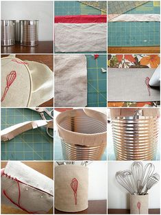 tin can cover tutorial, my tin cans are no longer safe! I'm covering my in chalk board material!
